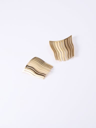 Titanium With Gold Plated Simplistic Hollow Geometric Decorative Combs