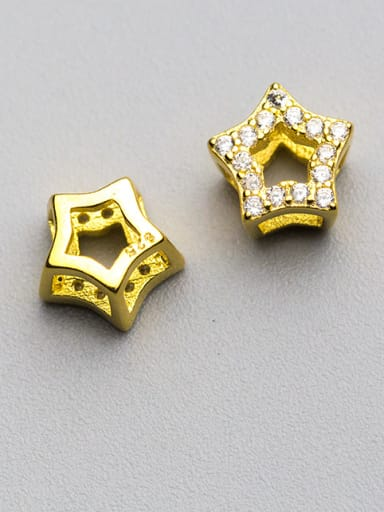 925 Sterling Silver With 18k Gold Plated Delicate Pentagram Charms