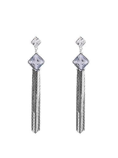 925 Silver Slim Chain Tassels Zircon Drop Earrings