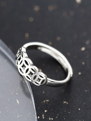Vintage Open Design Geometric Shaped S925 Silver Ring