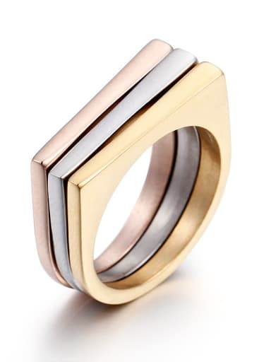 Stainless Steel With Simple D-type Titanium Steel Tri-color Combination Ring Stacking Rings