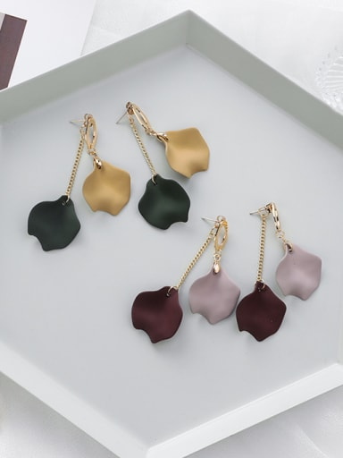 Alloy With Imitation Gold Plated Simplistic Leaf Drop Earrings