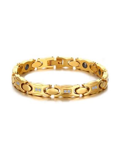 Trendy Gold Plated Geometric Shaped AAA Zircon Bracelet