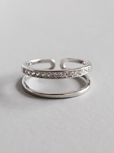 925 Sterling Silver With Platinum Plated Personality Double Line Free Size Rings