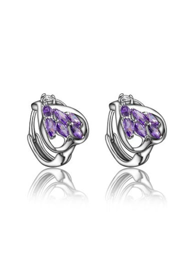 Lovely Platinum Plated Purple Heart Shaped Zircon Clip Earrings