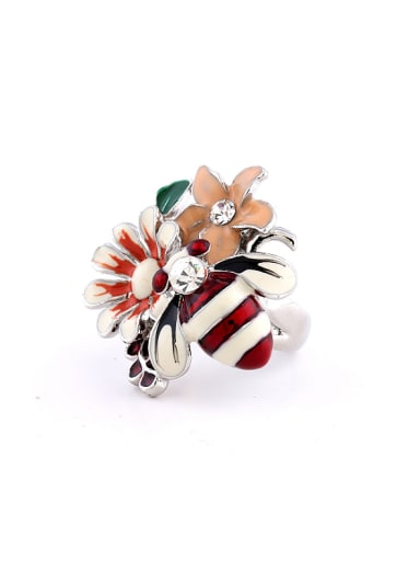 Fashion Little Bee Flowers Rhinestones Alloy Ring
