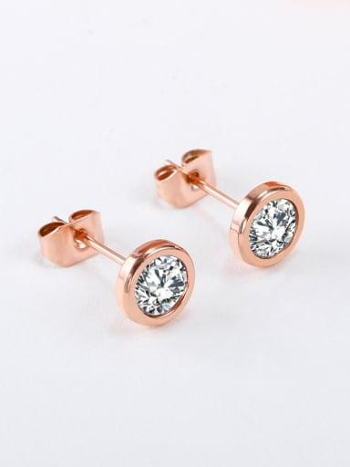 Fashion Female 18K Rose Gold Zircon stud Earring