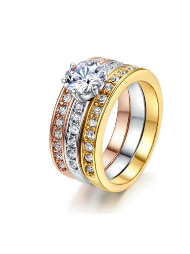 Hot Selling Three Color Plated Fashion Ring