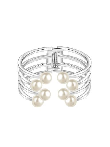 Exquisite Multi-layer Artificial Pearl Open Design Bangle