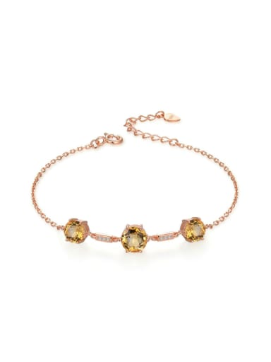 Natural Yellow Crystal Rose Gold Plated Bracelet