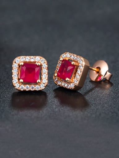 Red Zircon Rose Gold Cluster earring