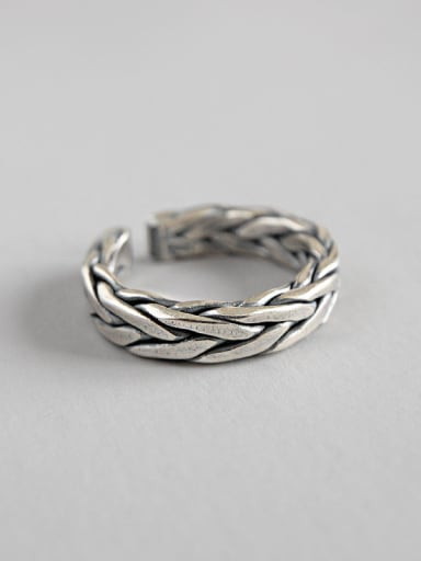 S925 Sterling Silver Vintage old handmade twist open ring