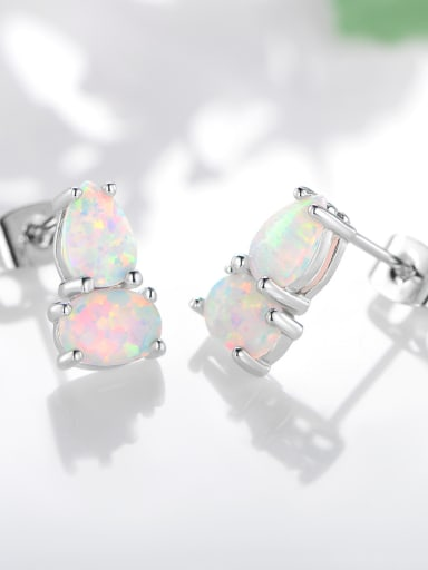 925 Sterling Silver With Platinum Plated Fashion Irregular Stud Earrings