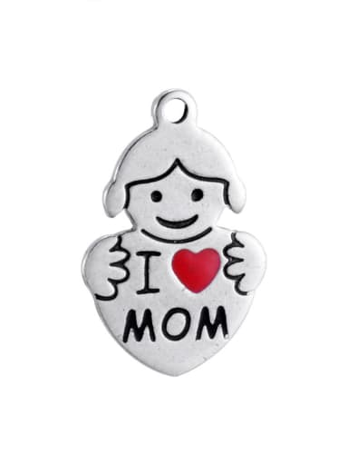Stainless Steel With Classic Irregular with I love mom Charms