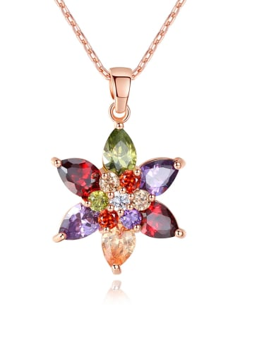 Copper With 3A cubic zirconia Trendy Flower Necklaces