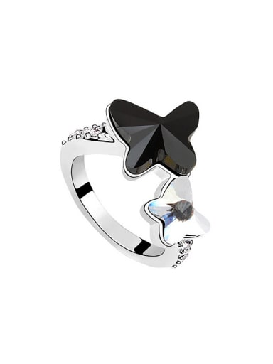 Fashion Double Butterfly Swarovski Crystals Alloy Ring