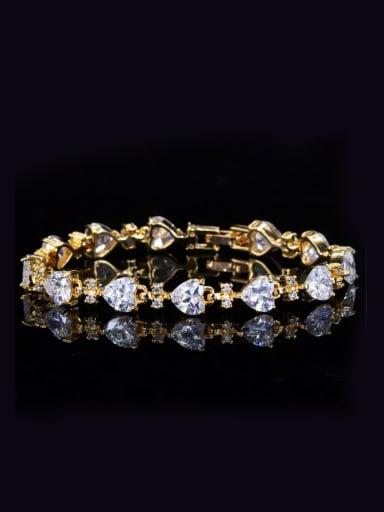 Shining Heart-shape Zircons Gold Plated Women Bracelet