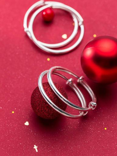 999 Fine Silver With Silver Plated Simplistic Glaze Round Bracelets