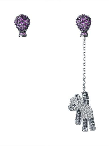 Cute hot air balloon bears micro-inlay zircons asymmetrical studs earring