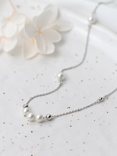 Temperament S925 Silver Artificial Pearl Necklace