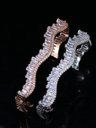 Wave-shape Shining Zircons Plating Temperaments Opening Bangle