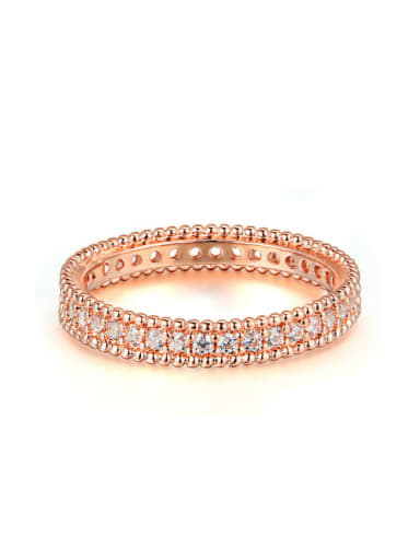 Rose Gold Plated Zircons Fashion Copper Ring