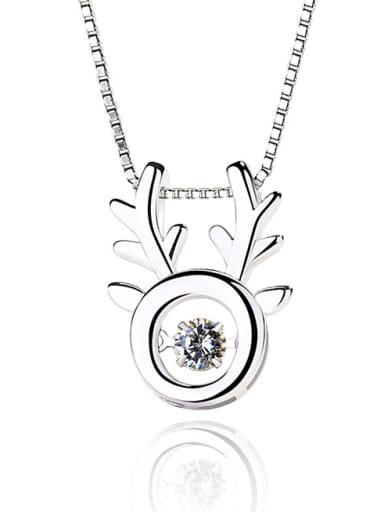 Fashion Shiny Rotatable Zircon Deer Antler 925 Silver Pendant