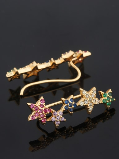 Copper With Cubic Zirconia Fashion Star Stud Earrings