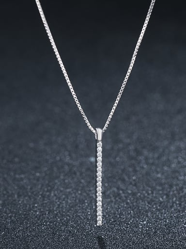 925 Sterling Silver With Platinum Plated Simplistic Fringe Necklaces