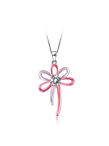 Fashion Hollow Flower Cubic Zircon Copper Pendant