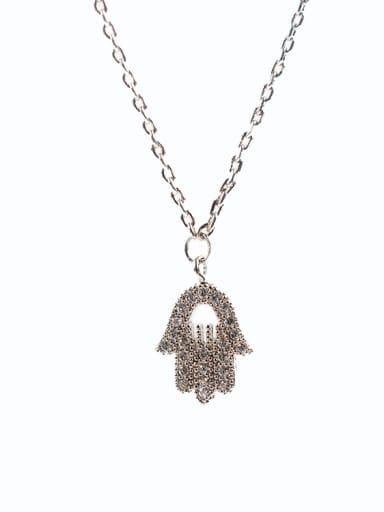 Women Exquisite Palm Shaped Zircon Necklace