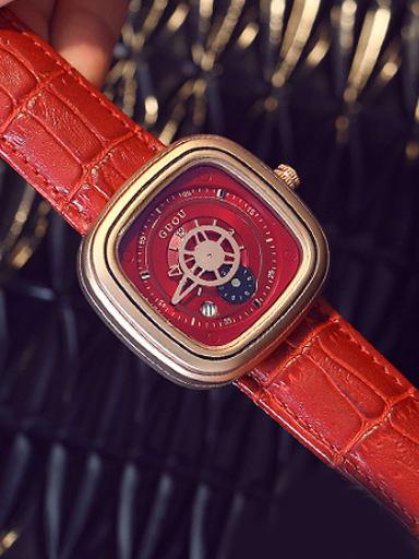 GUOU Brand Retro Personalized Square Watch