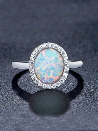 White Opal Stone Ring