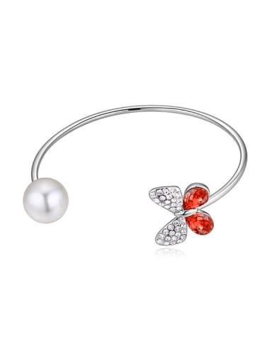 Fashion Imitation Pearl Swarovski Crystals Butterfly Alloy Bangle