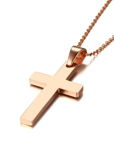 Elegant Rose Gold Plated Cross Shaped Titanium Pendant