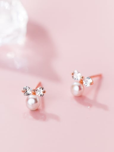 925 Sterling Silver With Rose Gold Plated Delicate Bowknot Stud Earrings