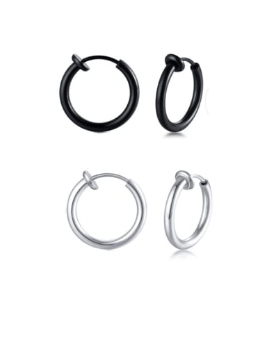 Stainless Steel With Smooth Simplistic  Round Hoop Earrings