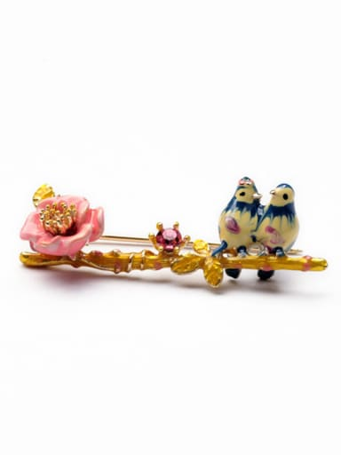 Sweet Enamel Birds Alloy Brooch