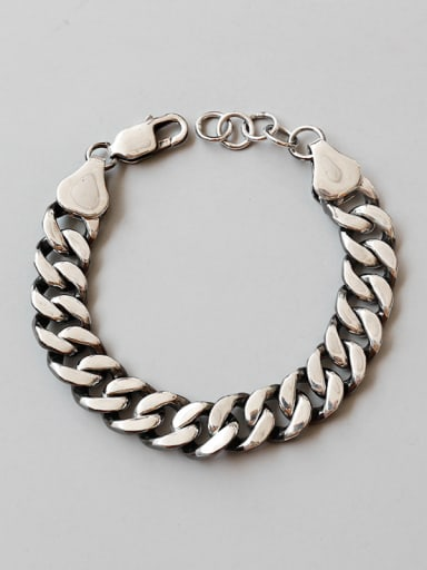 Pure silver retro neutral style chain bracelet (male and female optional)