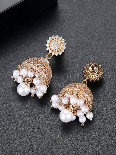 Copper With Gold Plated Fashion Statement Party Stud Earrings