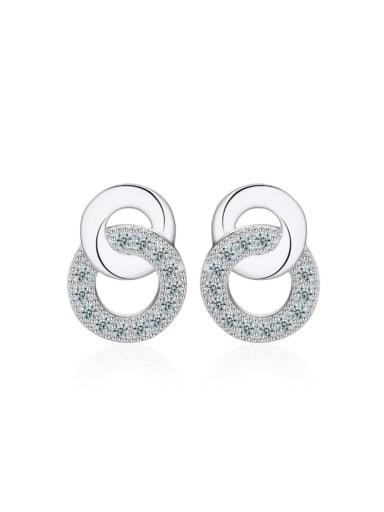 Double Circle Noble Women Stud Earrings