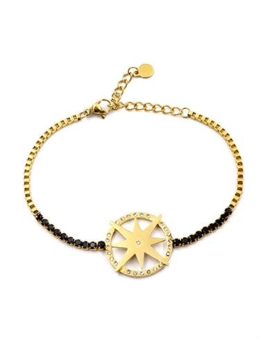 Compass Disc Black Plating Titanium Bracelet