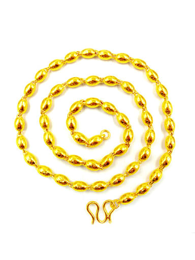 Men 24K Gold Plated Oval Shaped Necklace