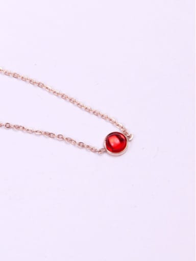 Small Ruby Pendant Clavicle Necklace