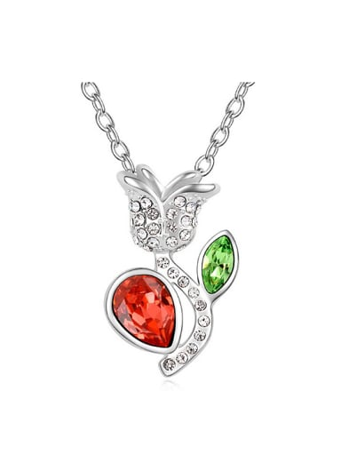 Personalized Swarovski Crystals-covered Flower Pendant Alloy Necklace