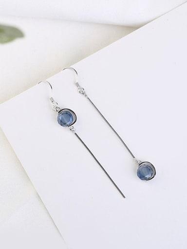 Blue Crystal Asymmetrical Drop Earrings