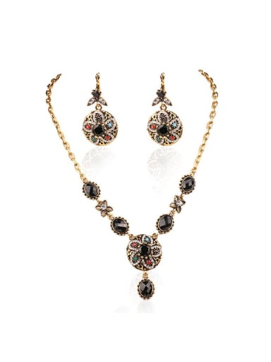 Bohemia style Black Resin stones Alloy Flowery Two Pieces Jewelry Set