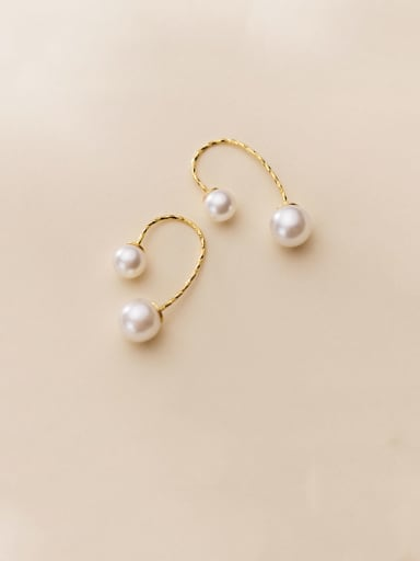 925 Sterling Silver With Gold Plated Simplistic Irregular Hook Earrings