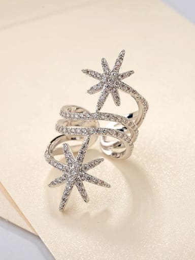Personality exaggerated stars copper plated gold with AAA zircon rings