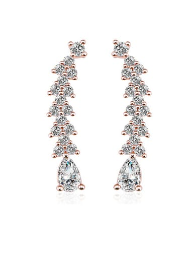 Retro Style 18K Rose Gold AAA Zircon Cluster Earring